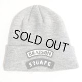 "【SQUARE】 BRATSON×SQAR COLLABO KNIT CAP ""LOGO DESIGN"" (GRAY)"